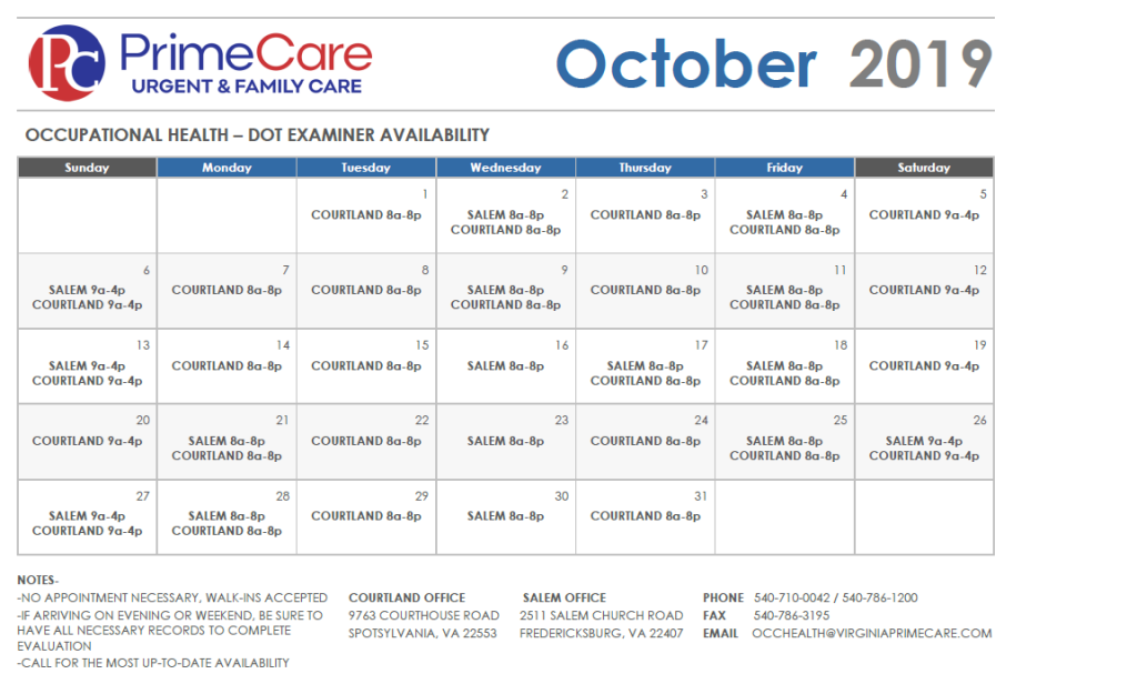 DOT Availability - October 2019